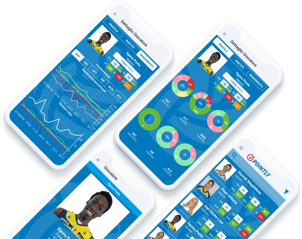 Statistiche giocatore dall'App Pointly